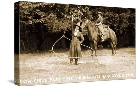 Cowgirls Roping--Stretched Canvas Print