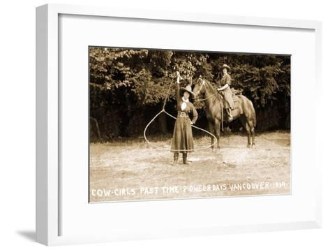 Cowgirls Roping--Framed Art Print