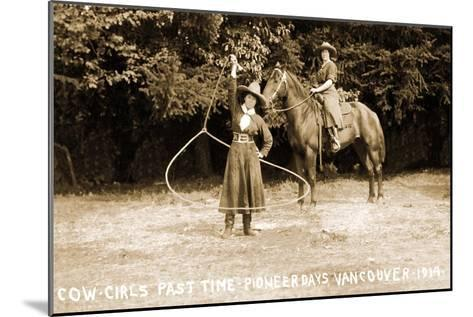 Cowgirls Roping--Mounted Art Print