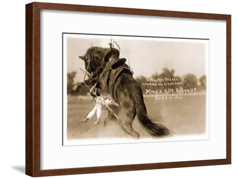Cowgirl Falling from Bronco--Framed Art Print