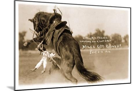Cowgirl Falling from Bronco--Mounted Art Print