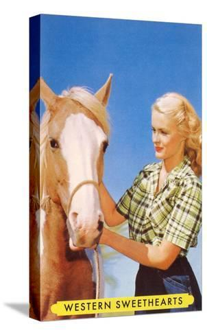 Blonde Cowgirl with Palomino--Stretched Canvas Print