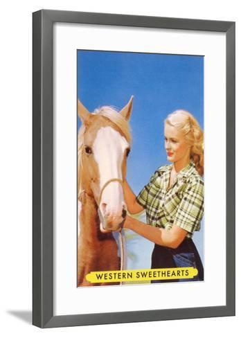 Blonde Cowgirl with Palomino--Framed Art Print
