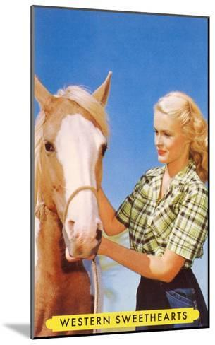 Blonde Cowgirl with Palomino--Mounted Art Print