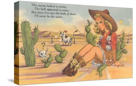 Cartoon Cowgirl on Cactus--Stretched Canvas Print