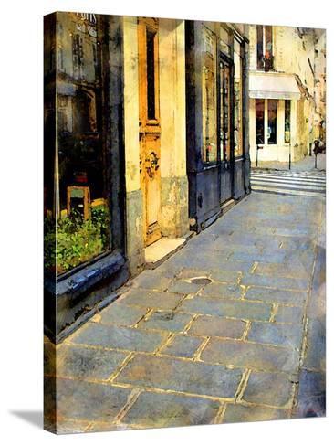 Stone Pavement in Paris, France-Nicolas Hugo-Stretched Canvas Print