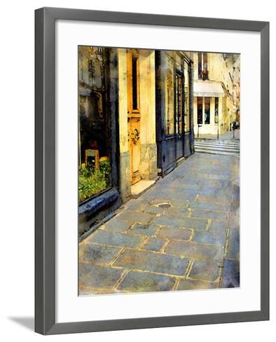 Stone Pavement in Paris, France-Nicolas Hugo-Framed Art Print