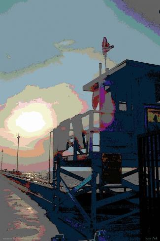 Pier, Venice Beach, California-Steve Ash-Stretched Canvas Print