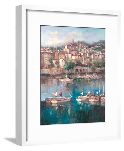Mediterranean Harbor II-Peter Bell-Framed Art Print