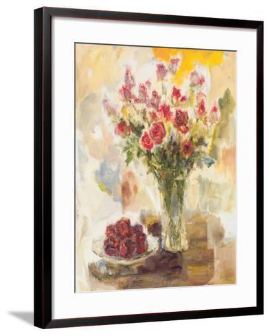 Red Roses in Crystal Vase-Yona-Framed Art Print