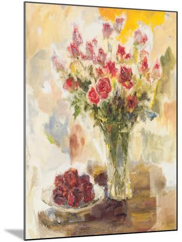 Red Roses in Crystal Vase-Yona-Mounted Premium Giclee Print