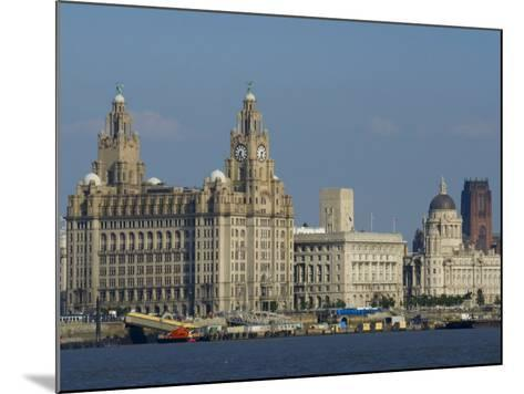 Thethree Graces and Cathedral from the River Mersey Ferry, Liverpool, Merseyside, England, UK-Charles Bowman-Mounted Photographic Print