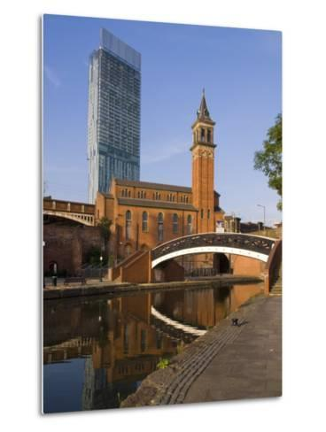 301 Deansgate, St. George's Church, Castlefield Canal, Manchester, England, United Kingdom, Europe-Charles Bowman-Metal Print