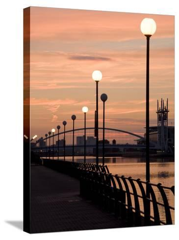 Lowry Footbridge and Canal in the Evening, Salford, Manchester, England, United Kingdom, Europe-Charles Bowman-Stretched Canvas Print