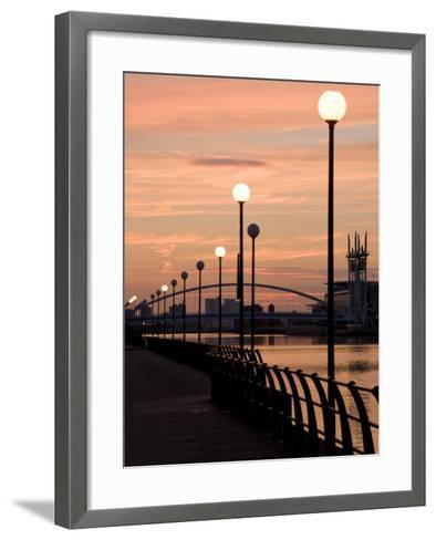 Lowry Footbridge and Canal in the Evening, Salford, Manchester, England, United Kingdom, Europe-Charles Bowman-Framed Art Print