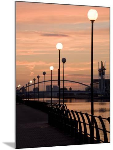 Lowry Footbridge and Canal in the Evening, Salford, Manchester, England, United Kingdom, Europe-Charles Bowman-Mounted Photographic Print