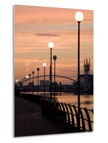 Lowry Footbridge and Canal in the Evening, Salford, Manchester, England, United Kingdom, Europe-Charles Bowman-Metal Print