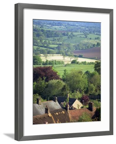 Roofs of Houses in Shaftesbury and Typical Patchwork Fields Beyond, Dorset, England, United Kingdom-Julia Bayne-Framed Art Print
