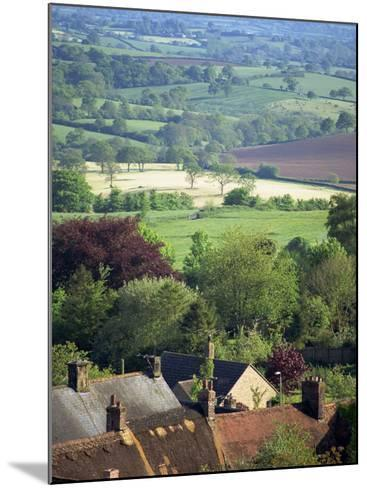 Roofs of Houses in Shaftesbury and Typical Patchwork Fields Beyond, Dorset, England, United Kingdom-Julia Bayne-Mounted Photographic Print