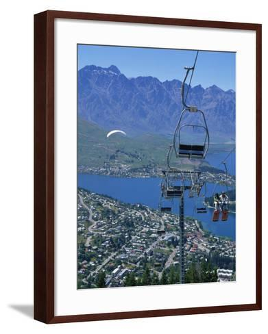Chair Lift with Lake Wakatipu, the Remarkable Mountains and Queenstown, South Island, New Zealand-Jeremy Bright-Framed Art Print