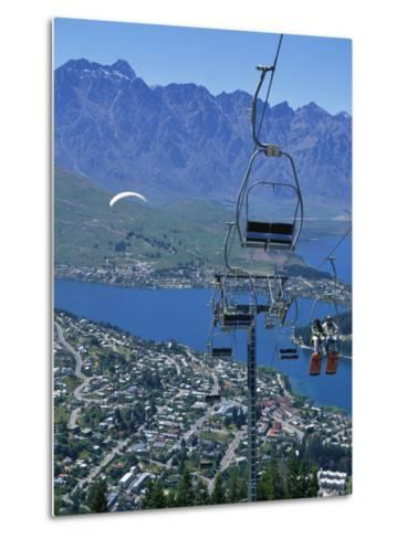 Chair Lift with Lake Wakatipu, the Remarkable Mountains and Queenstown, South Island, New Zealand-Jeremy Bright-Metal Print