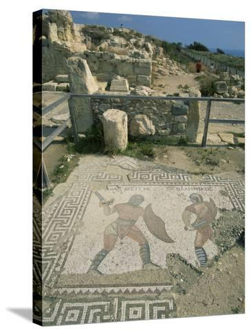 Mosaic, the House of Gladiators, Kourion, Cyprus, Europe-Jeremy Bright-Stretched Canvas Print