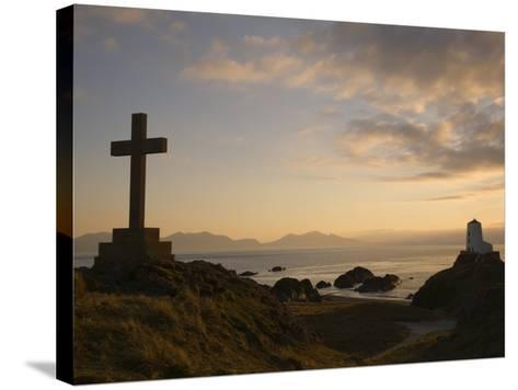 Stone Cross and Old Lighthouse, Llanddwyn Island National Nature Reserve, Anglesey, North Wales-Pearl Bucknall-Stretched Canvas Print
