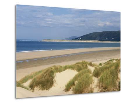 Sand Dunes and Borth Beach, Ynyslas, Borth, Dyfed, Wales, United Kingdom, Europe-Pearl Bucknall-Metal Print