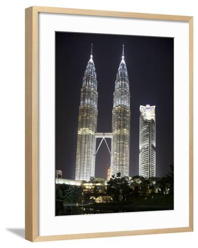 Petronas Towers at Night, Kuala Lumpur, Malaysia, Southeast Asia-Angelo Cavalli-Framed Art Print
