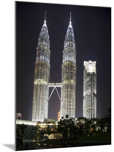 Petronas Towers at Night, Kuala Lumpur, Malaysia, Southeast Asia-Angelo Cavalli-Mounted Photographic Print