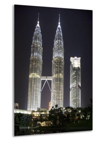 Petronas Towers at Night, Kuala Lumpur, Malaysia, Southeast Asia-Angelo Cavalli-Metal Print