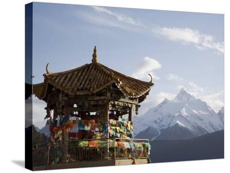 Buddhist Stupa with Meili Snow Mountain Peak in Background, Deqin, Shangri-La Region, China-Angelo Cavalli-Stretched Canvas Print