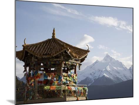 Buddhist Stupa with Meili Snow Mountain Peak in Background, Deqin, Shangri-La Region, China-Angelo Cavalli-Mounted Photographic Print