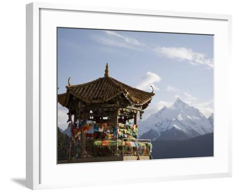 Buddhist Stupa with Meili Snow Mountain Peak in Background, Deqin, Shangri-La Region, China-Angelo Cavalli-Framed Art Print