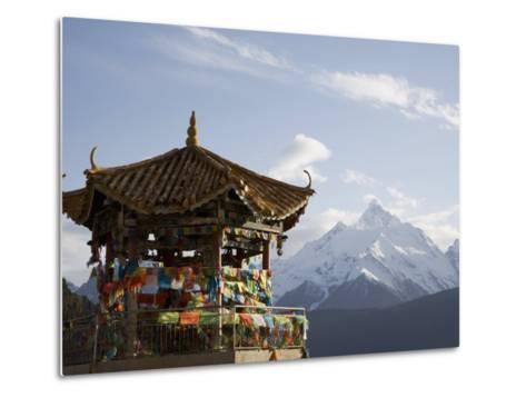 Buddhist Stupa with Meili Snow Mountain Peak in Background, Deqin, Shangri-La Region, China-Angelo Cavalli-Metal Print