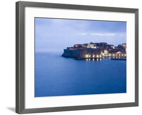 Evening View of Harbour and Waterfront of Dubrovnik Old Town, Dalmatia, Croatia, Adriatic, Europe-Martin Child-Framed Art Print