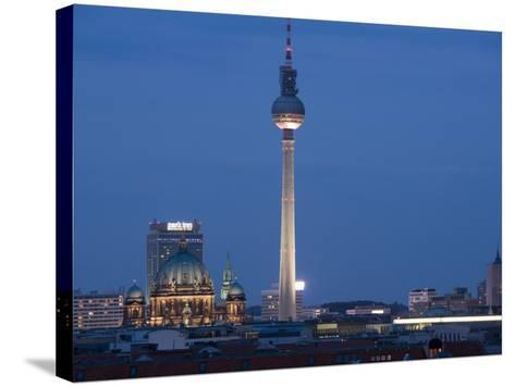 Fernsehturm, Television Tower, Telespargel, Evening, Berlin, Germany, Europe-Martin Child-Stretched Canvas Print