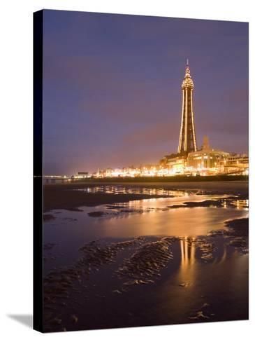Blackpool Tower Reflected on Wet Beach at Dusk, Blackpool, Lancashire, England, United Kingdom-Martin Child-Stretched Canvas Print