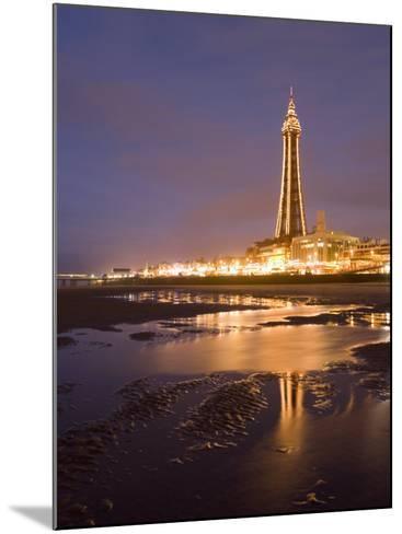 Blackpool Tower Reflected on Wet Beach at Dusk, Blackpool, Lancashire, England, United Kingdom-Martin Child-Mounted Photographic Print