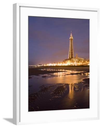Blackpool Tower Reflected on Wet Beach at Dusk, Blackpool, Lancashire, England, United Kingdom-Martin Child-Framed Art Print