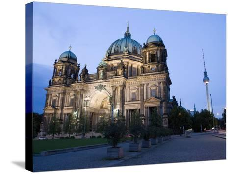 Berliner Dom Cathedral at Dusk with Fernsehturm, Telespargel Beyond, Berlin, Germany-Martin Child-Stretched Canvas Print