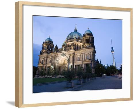 Berliner Dom Cathedral at Dusk with Fernsehturm, Telespargel Beyond, Berlin, Germany-Martin Child-Framed Art Print