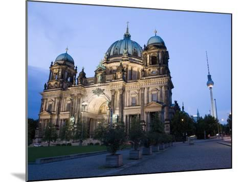 Berliner Dom Cathedral at Dusk with Fernsehturm, Telespargel Beyond, Berlin, Germany-Martin Child-Mounted Photographic Print