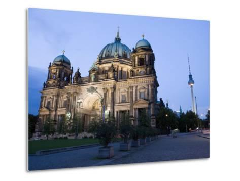 Berliner Dom Cathedral at Dusk with Fernsehturm, Telespargel Beyond, Berlin, Germany-Martin Child-Metal Print