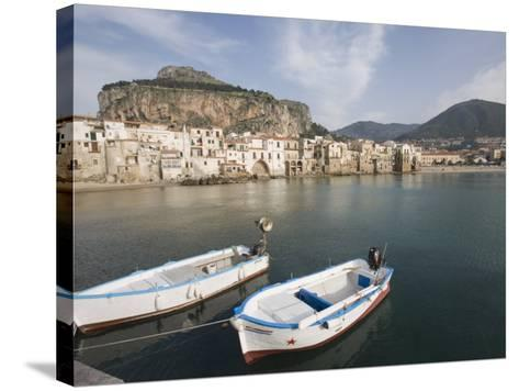Traditional Fishing Boats and Fishermens Houses, Cefalu, Sicily, Italy, Europe-Martin Child-Stretched Canvas Print