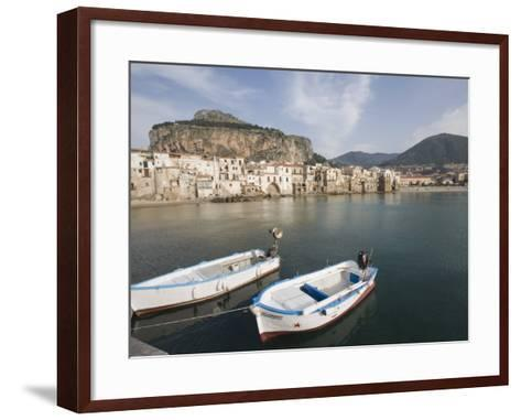 Traditional Fishing Boats and Fishermens Houses, Cefalu, Sicily, Italy, Europe-Martin Child-Framed Art Print