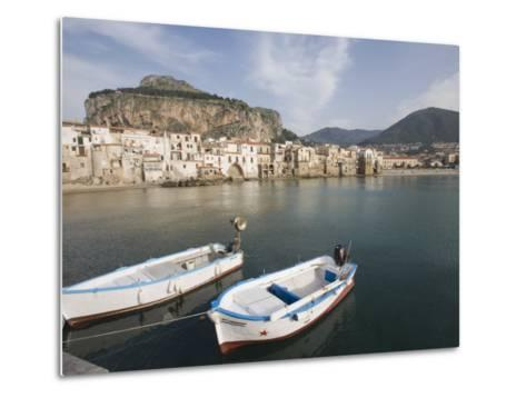 Traditional Fishing Boats and Fishermens Houses, Cefalu, Sicily, Italy, Europe-Martin Child-Metal Print