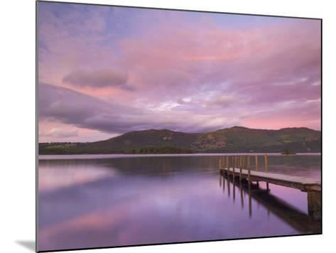 Sunset, Hawes End Landing Stage Jetty, Derwent Water, Lake District, Cumbria, England, UK-Neale Clarke-Mounted Photographic Print