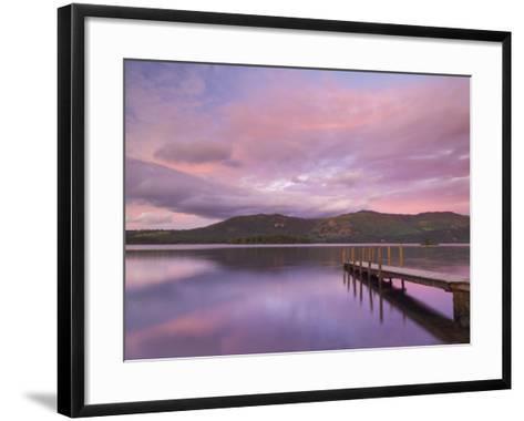 Sunset, Hawes End Landing Stage Jetty, Derwent Water, Lake District, Cumbria, England, UK-Neale Clarke-Framed Art Print