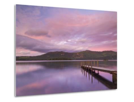 Sunset, Hawes End Landing Stage Jetty, Derwent Water, Lake District, Cumbria, England, UK-Neale Clarke-Metal Print
